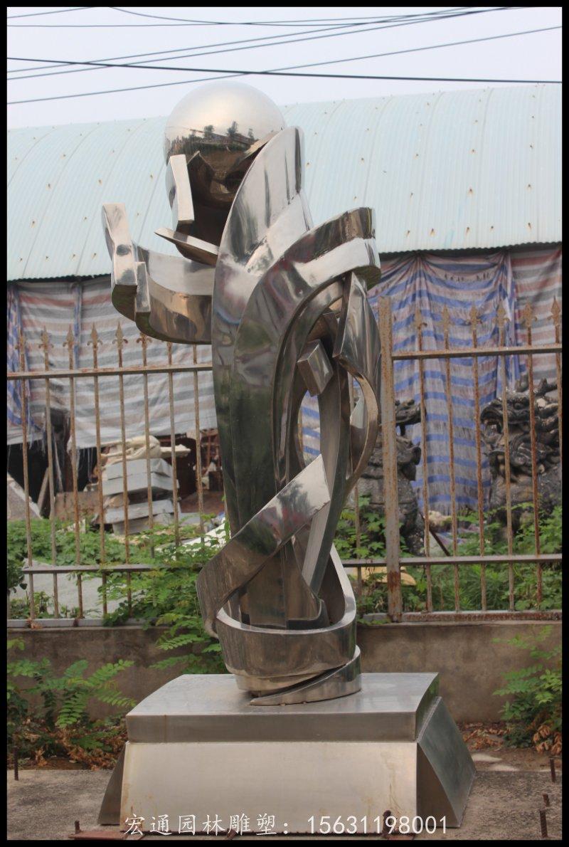 不锈钢凝聚雕塑企业标志雕塑厂家