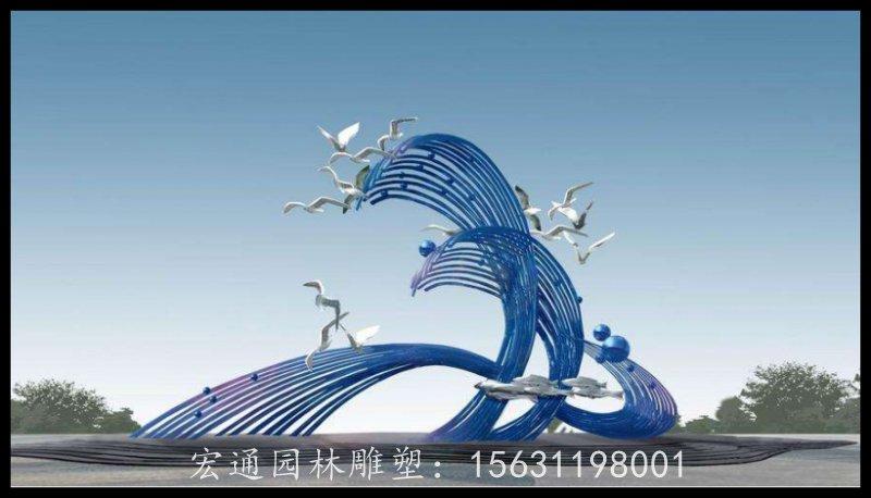 不锈钢海浪海鸥雕塑厂家