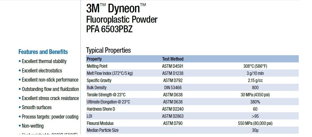 3MDyneonPFA6503PBZ静电喷涂PFA