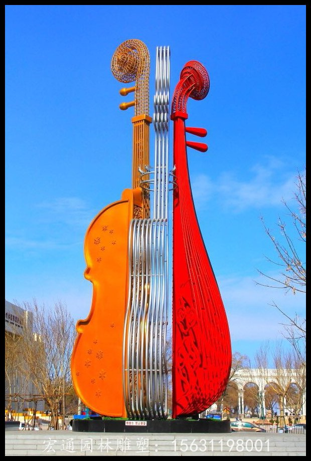 不锈钢小提琴雕塑广场标志雕塑厂家