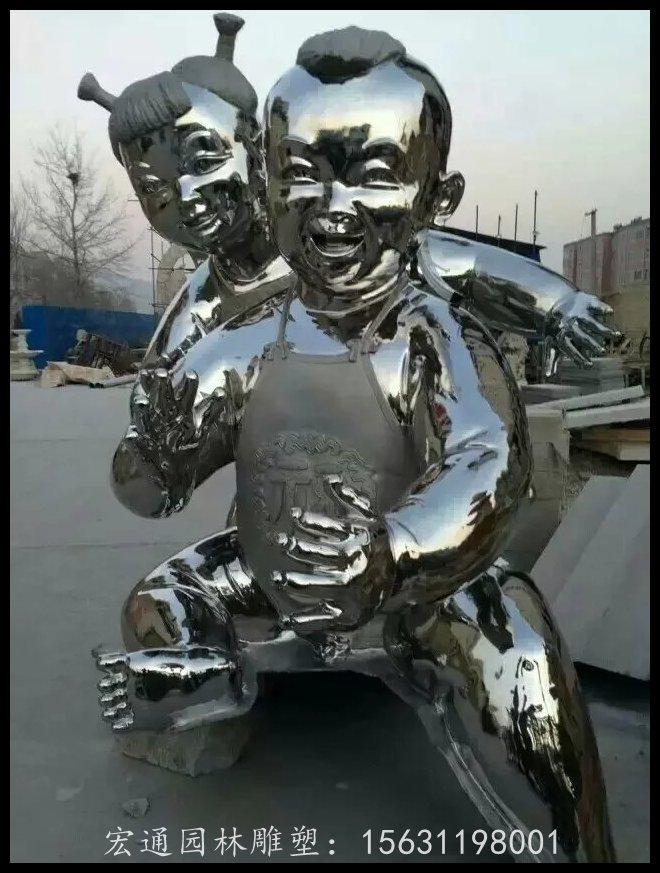 不锈钢小娃娃雕塑公园人物雕塑厂家