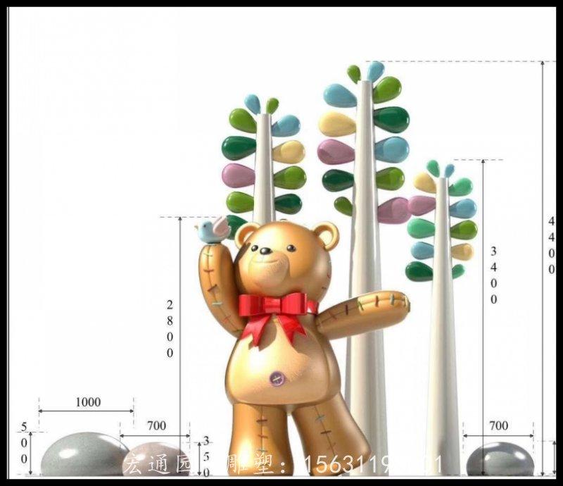 不锈钢小熊雕塑厂家