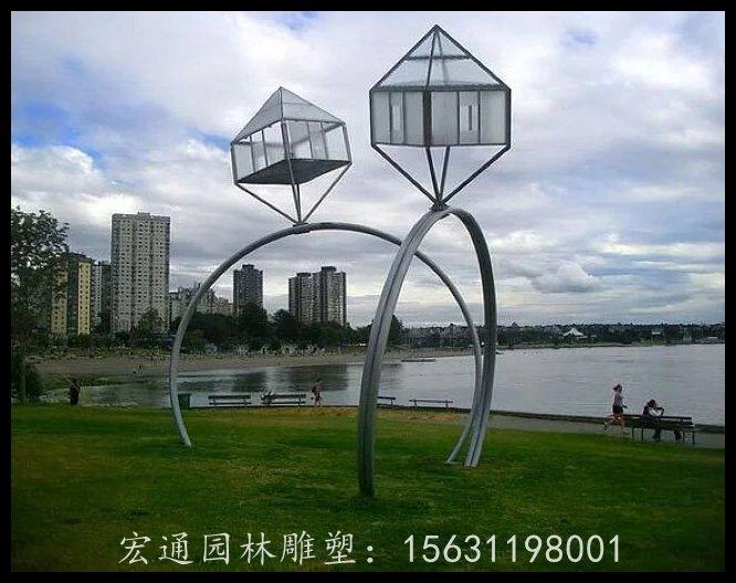 不锈钢钻戒雕塑公园景观雕塑厂家