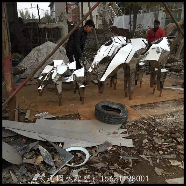 抽象小馬雕塑不銹鋼動物雕塑廠家
