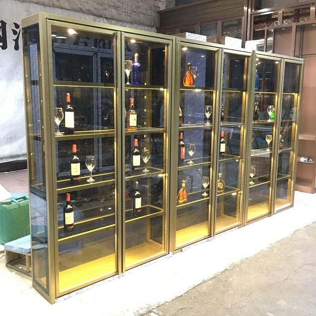 不锈钢青古铜红酒展示柜