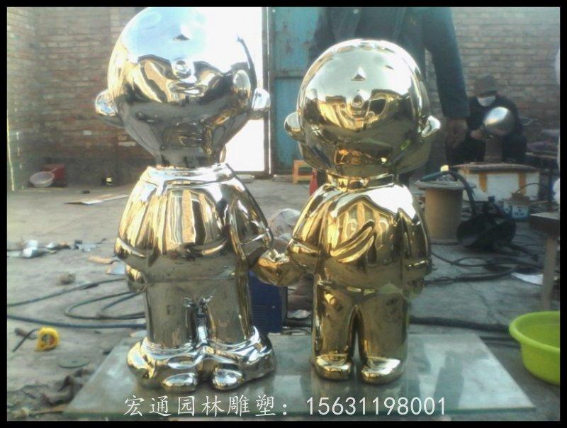 小孩雕塑不锈钢抽象人物雕塑厂家