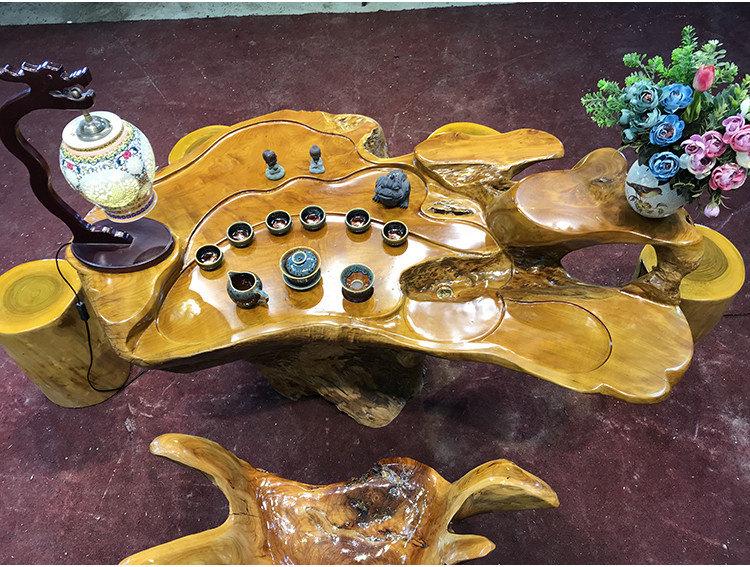 楠木雕根雕茶台茶海桌实木木头茶几大树根整体原木