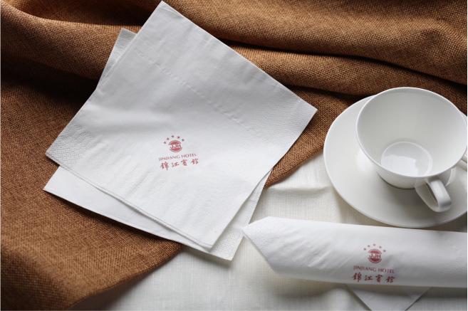 成都睿龙纸品定制供应锦江宾馆独立袋装餐巾纸-环保印制logo