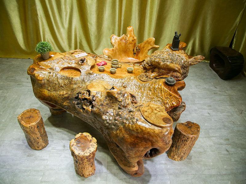 厂家直销根雕茶台供销-划算古典的黄金樟木实木茶台