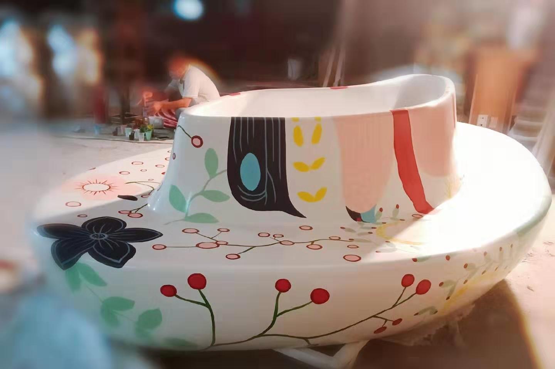 定制玻璃鋼花盆休閑椅商機場美陳裝飾創意座椅異形