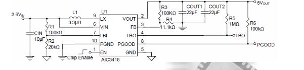 电源芯片AIC3418品牌沛亨高效、升压的DC/DC变换器
