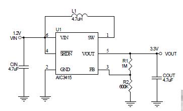 AIC3634脉冲频率调制(PFM)升压型DC/DC转换器