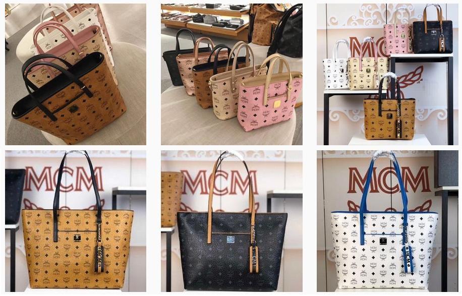 中号MCM顶部拉链购物袋原单斜挎女包货源