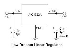 AIC1722A极低压差和2%精度输出电压ic电源