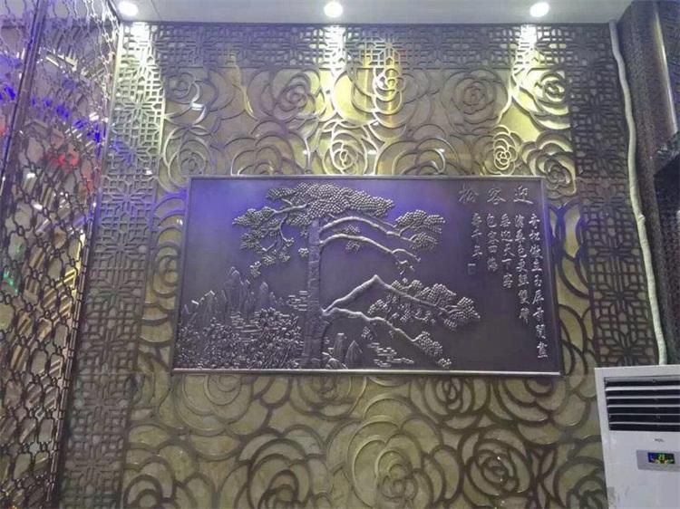欧式酒店铝艺屏风生产-品牌金属工艺壁画专业供应