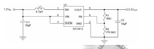 AIC3412使用内部同步整流器获得大效率和完整电源解决方案