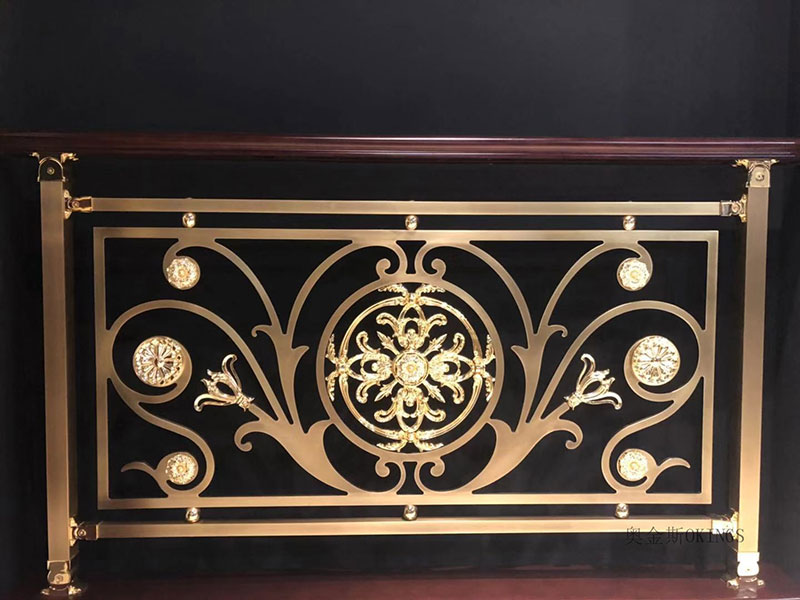 定制中式铝艺护栏,铜艺楼梯扶手厂家