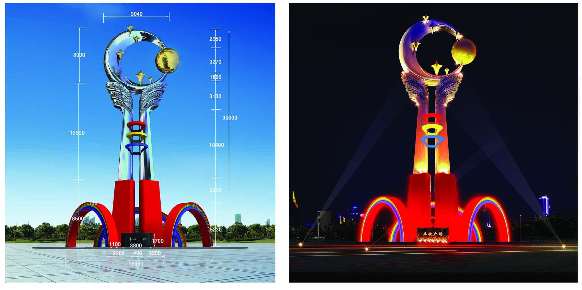 吉林不锈钢雕塑美观制作,沈阳鲁艺博展雕塑景观工程