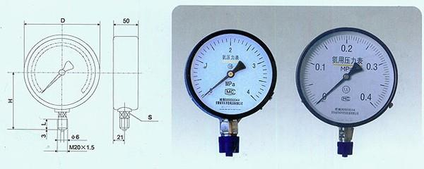 YA-100氨用壓力表廠家、YA-150氨用壓力表價格