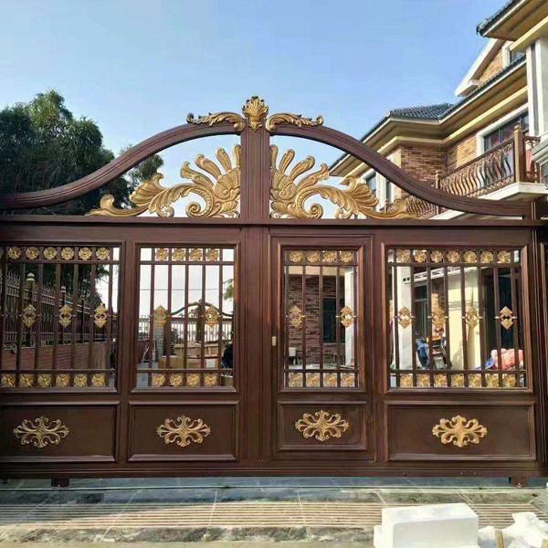 惠州铝艺大门专卖店_蓝盾铝艺优良的铝艺庭yuan门新品�xian�