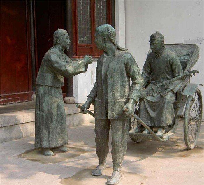 銅雕商業街黃包車人物雕塑  廣場小品人物雕塑