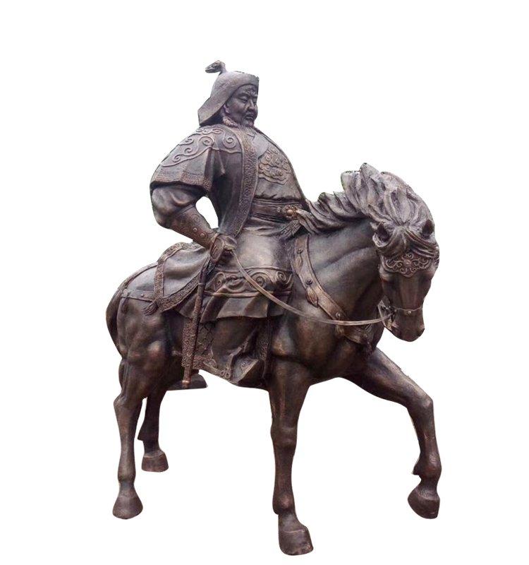 骑马成吉思汗铜雕 广场景观人物雕塑