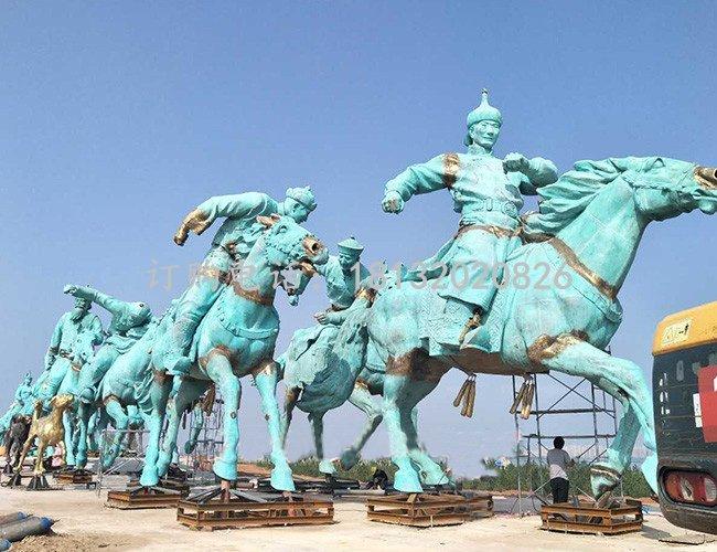 蒙古人騎馬銅雕 廣場景觀銅雕