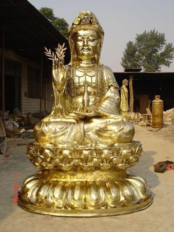 观世音菩萨铜雕 鎏金铜佛像