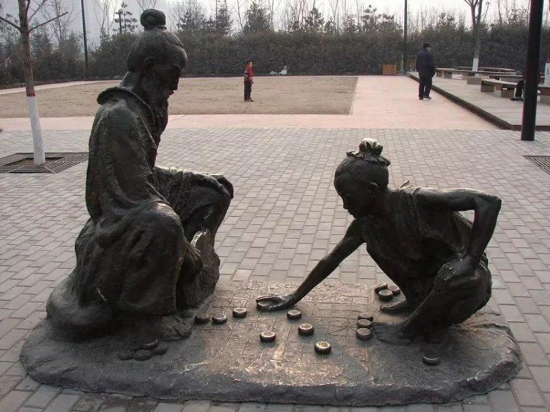 古人下象棋銅雕 廣場景觀銅雕