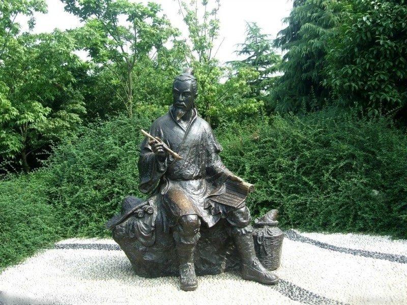 古人寫字銅雕 公園人物銅雕