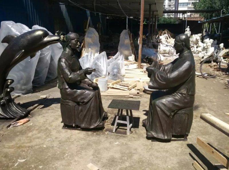 古人下棋銅雕 城市街道人物擺件
