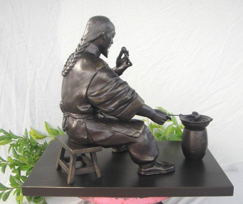 古人煮丸子雕塑 鑄銅景觀人物雕塑