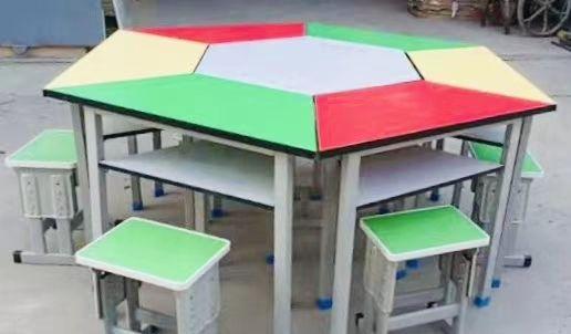 西安彩色拼接六角桌生产厂家