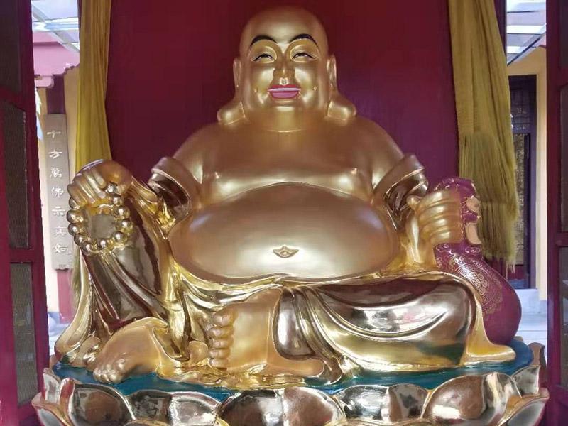 精制铸铜古彩带背光三宝佛寺庙供奉铜佛像
