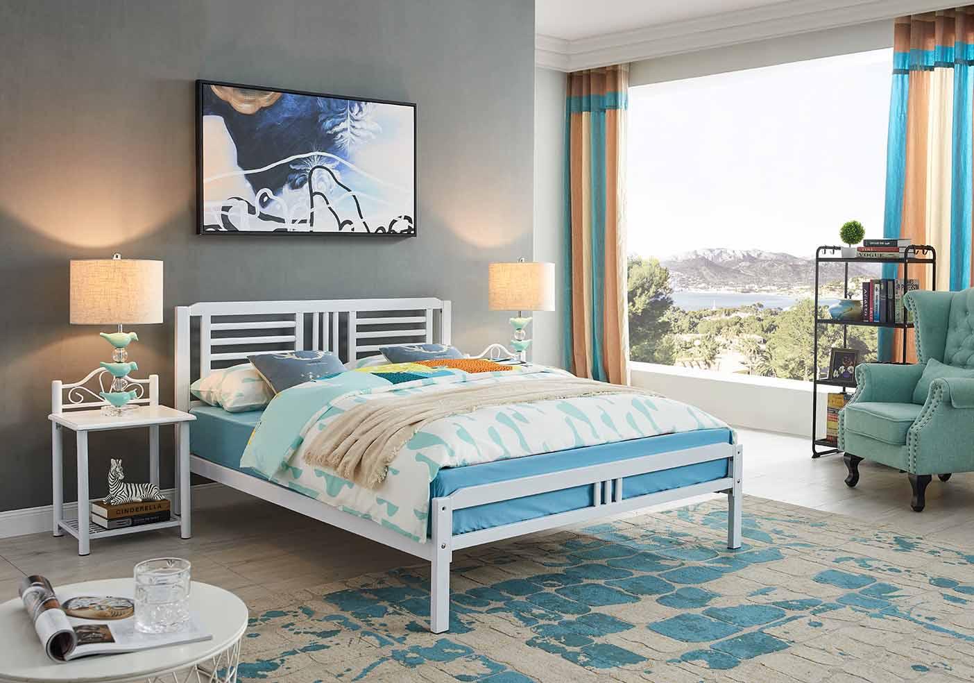 双人床尺寸-怎么买质量好的D-801白色铁艺床呢