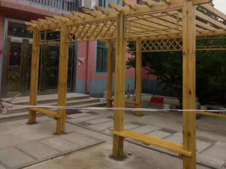 长廊花架-实木廊坊加工-公园景区长廊加工