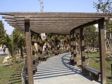 实木花架-仿古长廊加工-户外长廊加工