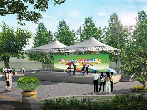 空间张拉膜施工-膜结构公园景观建筑造价