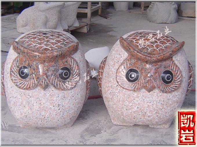 專業供應各種石雕貓頭鷹動物石雕-凱巖石業