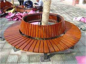 防腐木休闲椅铸铁实木公园椅花坛树围椅