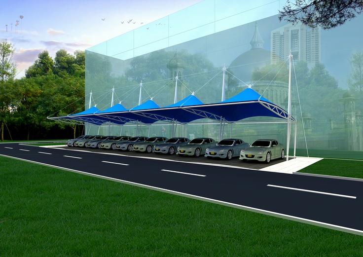 膜結構汽車棚-石家莊停車棚膜結構-唐山停車棚膜結構