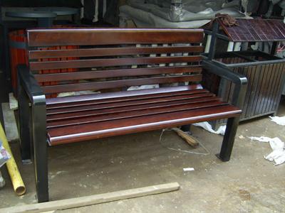 欧式防腐木休闲椅铸铁实木公园椅花坛树围椅
