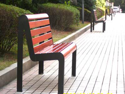 有背钢木休闲椅双位休息座椅校园靠背路椅振兴休闲椅定制
