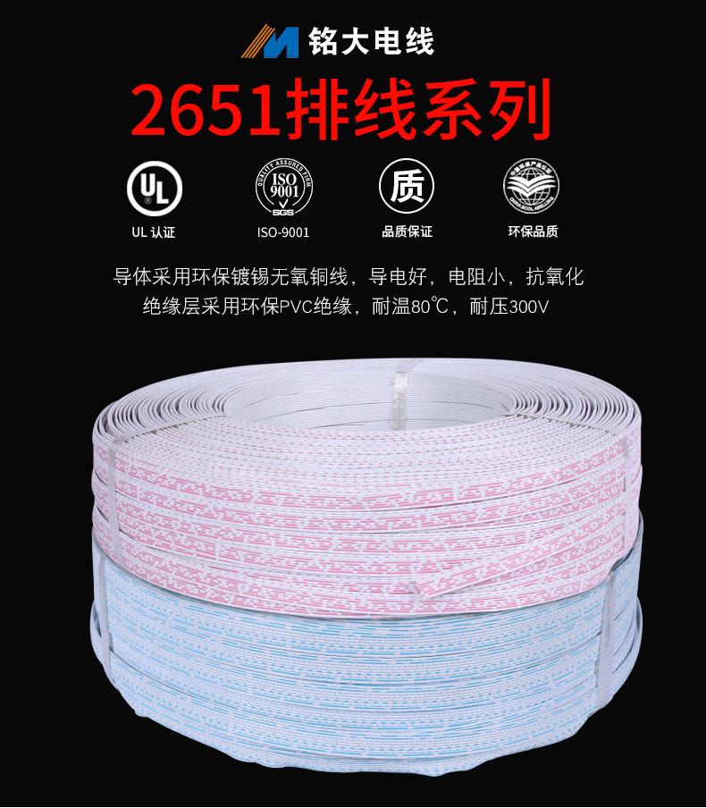 厂家直销定制UL2651并排线28awg红蓝白排线