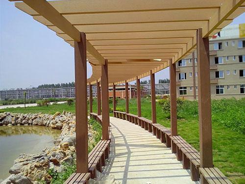 西安塑木廊架生产厂家-塑木长廊批发-塑木长廊定制