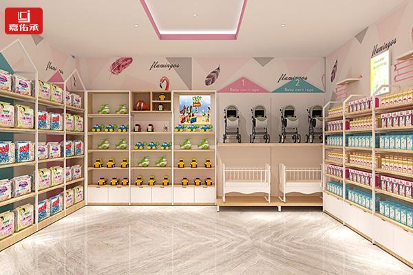 母婴店钢木货架超市展示柜孕婴奶粉玩具纸尿裤靠墙单面展示架子