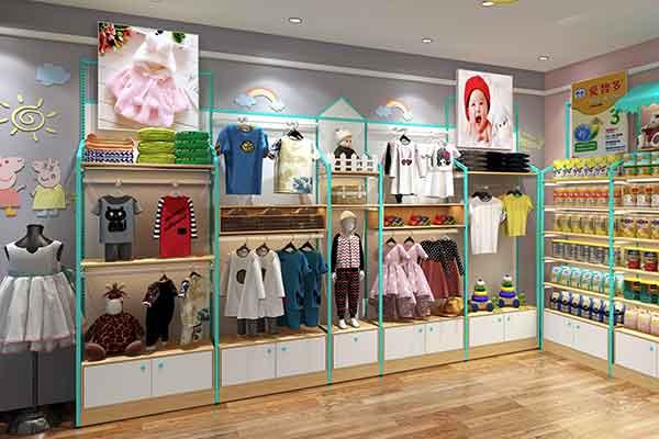 母婴店货架童装挂架服装展示架孕婴童衣服展示柜整店设计
