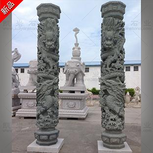 寺庙石雕龙柱雕塑