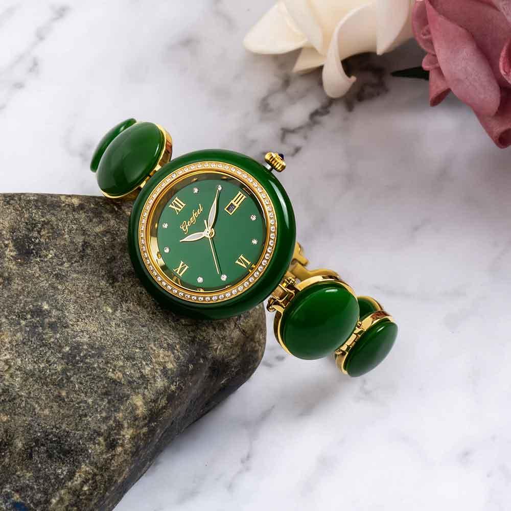 玉石手表女士日历进口石英机芯钢带防水手表有现货可定制