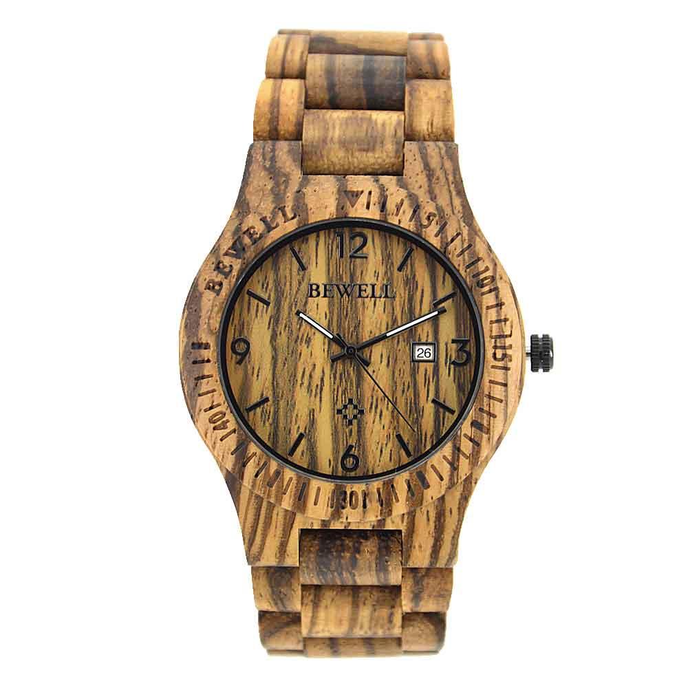 男款木表watch超薄款石英手表BEWELL品牌木表电商热销